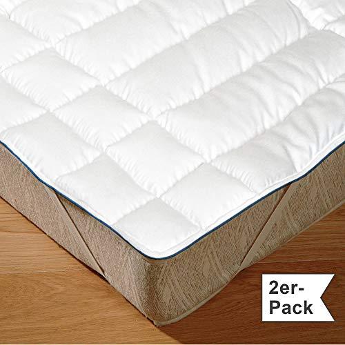 Irisette Matratzenauflage 2er-Pack Wolle Weiss Größe 100x200 cm