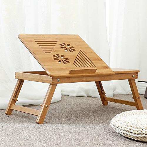 YP Lazy Table- Fold Laptop Table Portable Bamboo Arts Study Table Adjustable Height Tray Table Bed Table with Drawer 64 * 35 * 22~30Cm Save Space