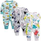 amropi Bebé Recién Nacido Niños Mono Peleles Pijama Mameluco de Manga Larga Pack de 3, 12-18 Meses,Azul/Gris/Blanco