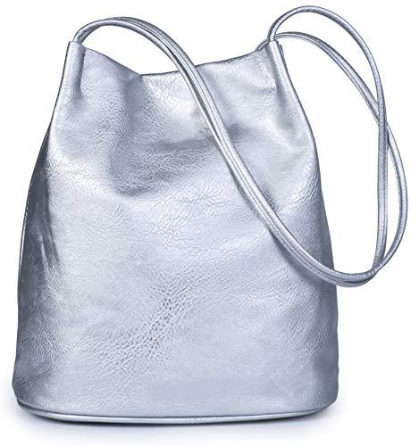 Mabel London - Bolsa de hombro para mujer, diseño de moda, tamaño mediano, liso, suave, de piel vegana, de Delilah, color Plateado, talla Talla única