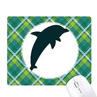 流線型のかわいいドルフィンブルーオーシャン 緑の格子のピクセルゴムのマウスパッド