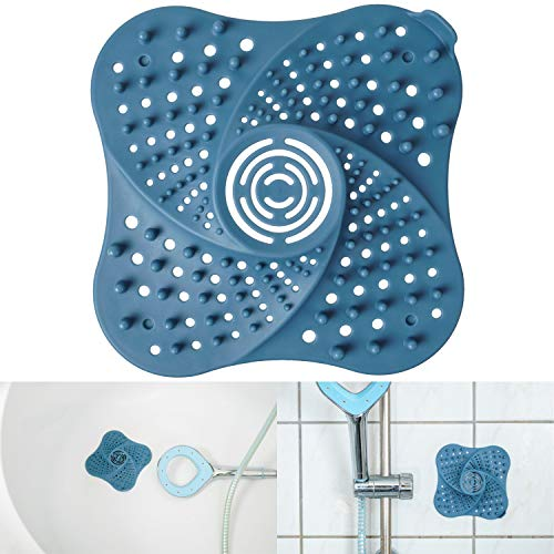 Abflusssieb aus TPR, 13 x 13 cm, 1 x blau, mit 4 starken Saugnäpfen, hält Abläufe frei von Haaren und Dreck, Abfluss Haarsieb für Dusche und Badewanne, Abfluss Abdeckung Haarfänger, Abflussschutz