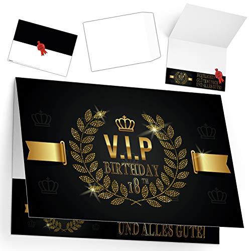A4 XXL 18 Geburtstag Karte VIP 18th BIRTHDAY mit Umschlag - edle Geburtstagskarte Glückwunschkarte zum 18. Geburtstag für Mann Frau von BREITENWERK