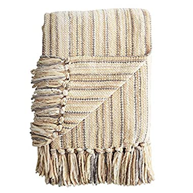 Pier 1 Imports Neutral Tan & Cream Striped Chenille Throw Blanket
