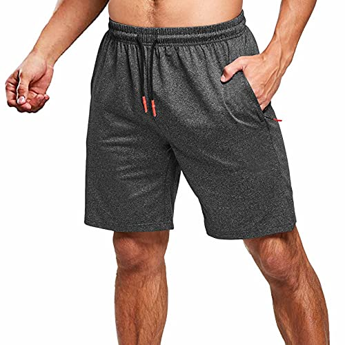 JustSun Kurze Hosen Herren Shorts Sommer Kurze Jogginghose Sporthose Baumwolle Sweatshorts Sport Running Shorts mit Reißverschluss Schwarz 3XL