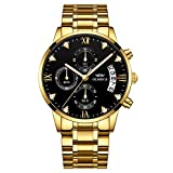 Gold Stainless Steel Men's Wrist Watches Analog Quartz Black Military Chronograph Mutifunctional Crystal Wristwatch for Man with Date Calendar