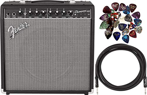 Fender Champion 40 Electric Guitar 40-Watt Amplifier Bundle with 24 Picks and 10-Foot Instrument Cable