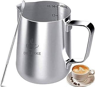 ミルク ピッチャーステンレス製 ステンレススチール コーヒー ラテアート スケール線付き(400ml)