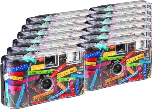 TopShot Jag gillar den svarta engångskamera/bröllopskamera (27 foton, blixt, 12-pack)