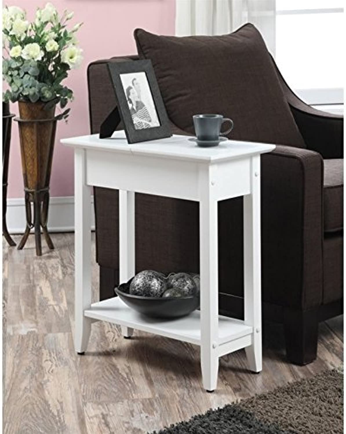 Pemberly Row Flip Top End Table in White