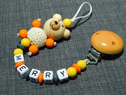 Schnullerkette mit Namen, Teddy/bär gelb-orange-grau