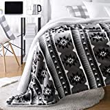 Amazon Basics Ultra-Soft Micromink Sherpa Blanket - Throw, Grey Aztec Stripe