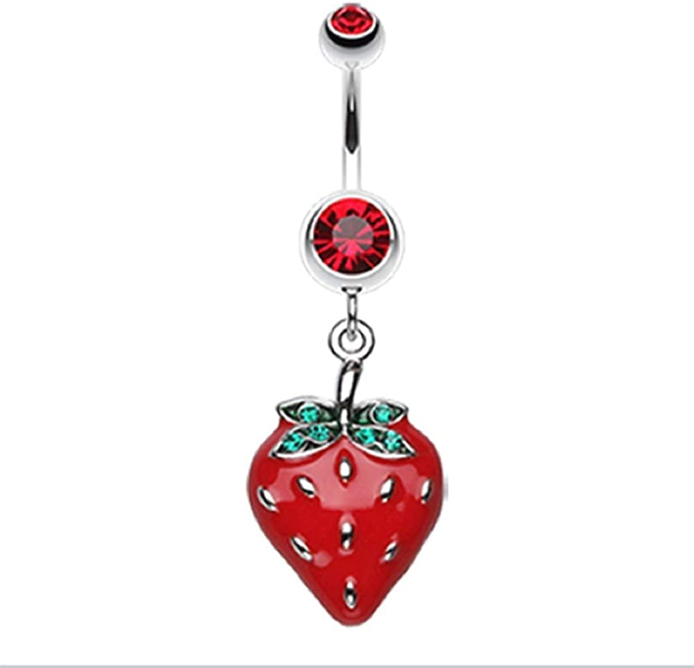 Covet Jewelry Vibrant Strawberry Dangle Belly Button Ring