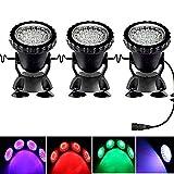 AORUNZHI Fernbedienung LED-Beleuchtung Gartenteichleuchten, Teichstrahler, farbwechselnde Aquariumleuchten mit Fernbedienung (3er-Set)