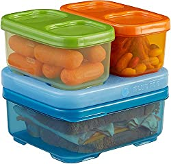 Inexpensive sturdy containers with an ice brick to refrigerate and stackable.