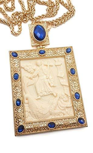 Tienda Nazaret Cruz pectoral Crucifijo Colgante Profeta Jonás Icono Escena bíblica Azul Piedras cristalizadas Elementos Sacerdote cristiano Obispo Collar 20 'en caja de regalo