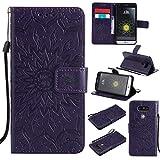 KKEIKO Hülle für LG G5, PU Leder Brieftasche Schutzhülle Klapphülle, Sun Blumen Design Stoßfest Handyhülle für LG G5 - Violett