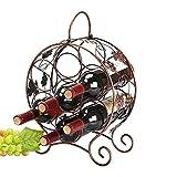 YFGQBCP botellero De Gama Alta con Estilo a Gran Escala de Bronce de Mesa Vino Rack Soporte de exhibición, Puede sostener 7 Botellas de Vino, Hermoso asa de diseño, fácil de Mover