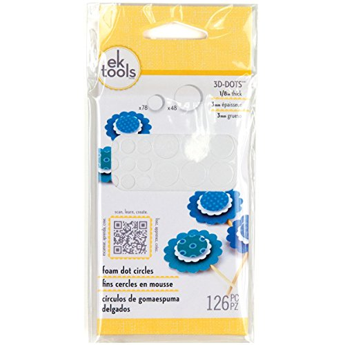 3D Dots Foam Dot Adhesive-White Circles .125' Thick 126/Pkg