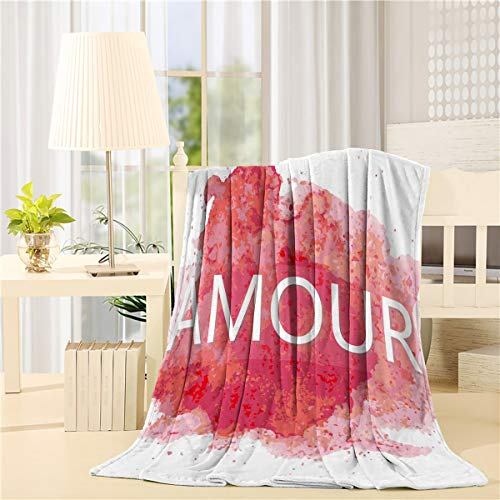 BABE MAPS Art Decor Flannel Fleece Throw Blanket Warm Lightweight Bed Blankets, Soft Plush Cozy Blankets and Throws for Couch Sofa Amour Watercolor Effect Creative Timeless 60 x 80inch