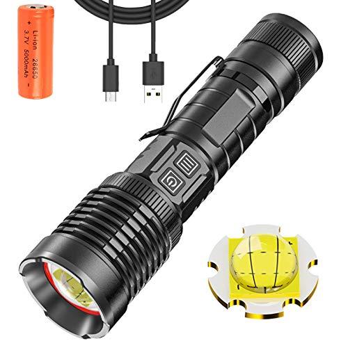 Linterna LED XHP99 Potente Super Brillante 10000 Lumens USB Recargable, 5 Modos Linterna Táctica Alta Potencia Impermeable con Indicador de Encendido para el Hogar, Camping, Senderismo, Emergencia
