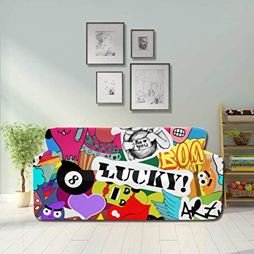 Zemivs Art Fashion Block Comic Graffiti Chair Slipcover Stretch Covers Couch Fitted Furniture Protector 2&3 Seat Sofas