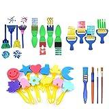XULJ Kit de Pinceles de Pintura 28 Piezas de Esponja de Pintura del Kit del Cepillo de Esponja Dibujar Formas Pintura del Arte Cepillo for niños pequeños Patrón Surtido Pinceles de Artista