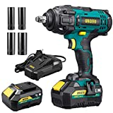 URCERI Cordless Impact Wrench 20 V 1/2 Inch 400 N.M (300 Ft-lb) Max...