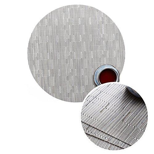 Treestar - Tapis de table rond en PVC antidérapant avec veines de bambou - Isolation respectueuse de l'environnement - Pour table de salle à manger, fête, pique-nique, plastique, gris, 32 × 32cm