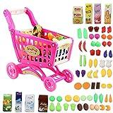 deAO Kinder Einkaufswagen Spielset, Gefüllt mit mehr als 50 Kunststoff Lebensmitteln Spielzeug für Jungen und Mädchen