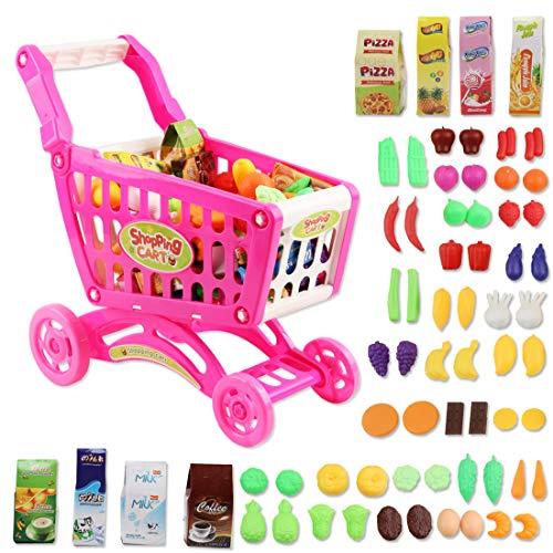 deAO Caddy de Course Comprenant 70 Produits d'épicerie, Fruits, légumes, Accessoires de Magasin Jouet pour Garçons et Filles (Rose)