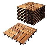 プロテック ウッドデッキパネル 10枚セット (30×30cm) 天然アカシヤ木製