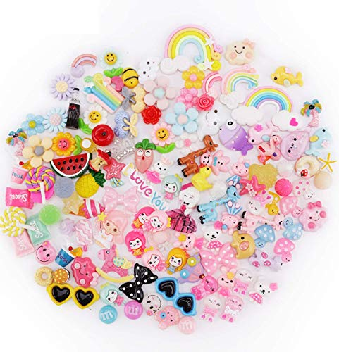 Slime Charms Cute Set, DesignerBox 120pcs Charms for Slime Assorted Fruits Candy Sweets Animals Flatback Resin Scrapbook Cabochons for DIY Craft Making, Ornament Scrapbooking (120 Pcs)