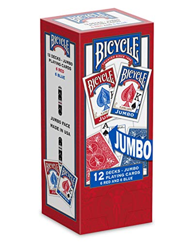 Bicycle Jumbo Playing Cards, 12-pack Red/Blue
