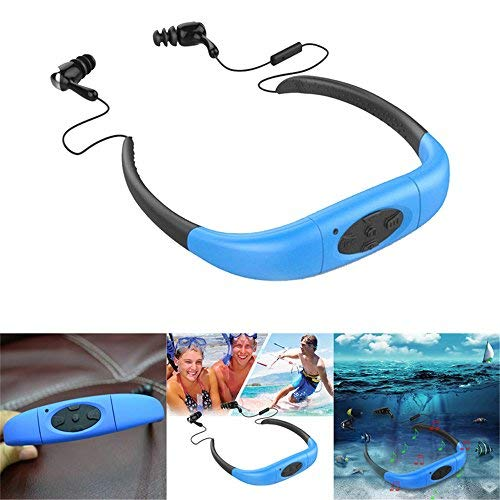 in Ear Headset Watersports, TechCode Waterproof MP3 Music Player Sport Earbuds Neckband Stereo Headphone Built in 8GB Memory Storage Headset for Swimming Surfing Running Gym Workout(Blue)