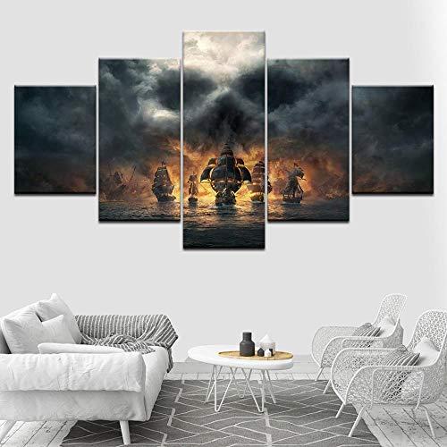5 Stücke Leinwand Malerei Fluch der Karibik Film Wandkunst Bilder Modulare Tapeten Poster Für Wohnzimmer Decor(size 3)