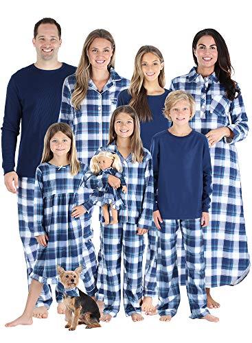 SleepytimePJs Matching Family Christmas Pajama Sets, Blue Flannel - Men's Lounge Set, 2X