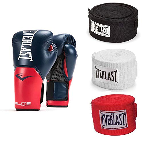 Everlast Navy/Red Elite Pro Style Training Boxing Gloves 16 Ounce and 120 Inch Hand Wraps (3 Pack)