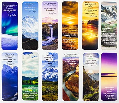 Livin Harmony || Inspirational Quotes Bookmarks 12  Set || Great Gift for Men Women Kids Mothers Day Girls Students || Premium Quality Made in USA