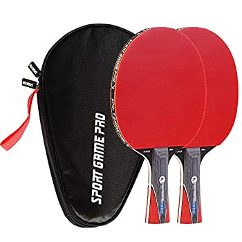 Ping Pong Paddle Set with Killer Spin + Case for Free - Professional Table Tennis Racket for Beginner and Advanced Players - Improve Your Ping Pong Skills with JT Ping Pong Paddle Set  Red
