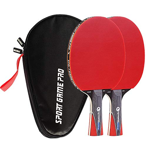 Sport Game Pro Ping Pong Paddles Set Includes Killer Spin, Bag for 2 Table Tennis Rackets with Comfort Grip 2.0 mm Sponge and Rubber