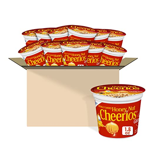 Honey Nut Cheerios, Breakfast Cereal Cups, Whole Grain Oats, Gluten Free, 1.8 oz (Pack of 12)