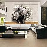 Fototapete 3D lebensechte Tier Wandbild Nashorn Löwe Elefanten Schlafzimmer Wandbild Wohnkultur Tapete 3D-400X280Cm