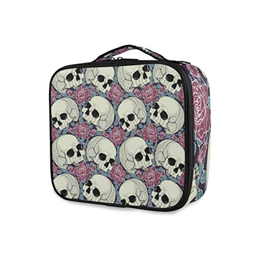 Trousse de maquillage Filles Outils Cosmetic Train Case Travel Portable Toiletry Pouch Storage Skulls And Roses (5)