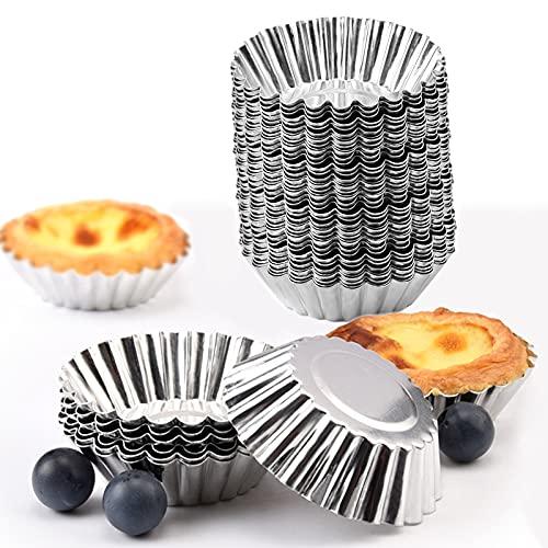 Tosnail 50 Pieces Aluminum Egg Tart Mold Small Tart Pie Tin Mini Cupcake Cake Muffin Cookie Mold Baking Cups