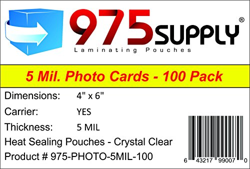 975 Supply 5 Mil Photo Laminating Pouches, 4 x 6 inches, 100 Pouches