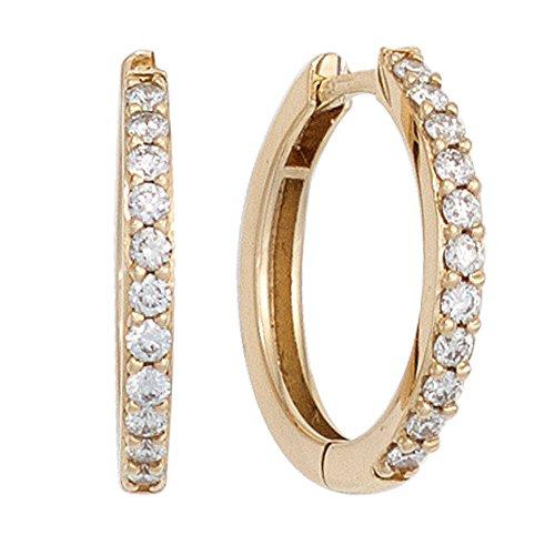 JOBO Creolen 585 Gold Gelbgold 22 Diamanten Brillanten Ohrringe Klappmechanik