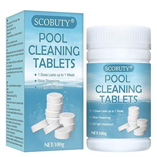 SCOBUTY Chlorine Tablets for Swimming Pool,Chlorine Tablets,Multifunction Chlorine Tablets,Pool Cleaning Tablets,Multifunctional Chlorine Tablets for Paddling Pools Hot Tub Swimming Pool Spa