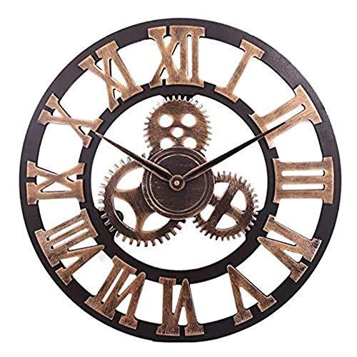 HOSTON 16 Zoll große Wanduhr stille lautlos römische Ziffer Metall / 3D Holz Quarz Vintage Wanduhr für Wohnzimmer Küche Schule Büro Wanddekoration (Römische Ziffern Gold, 40cm)