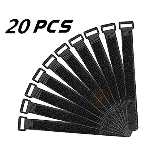 Preisvergleich Produktbild Milopon Klettverschluss Klettkabelbinder Gurt Klettbänder Klettgurte Allzweck Klettverschluss Gurte Wiederverwendbare schwarz 30x2.5cm 20PCS